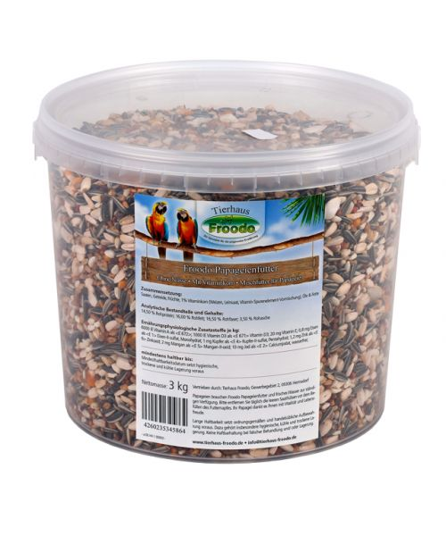 Froodo Papageienfutter 3kg Eimer